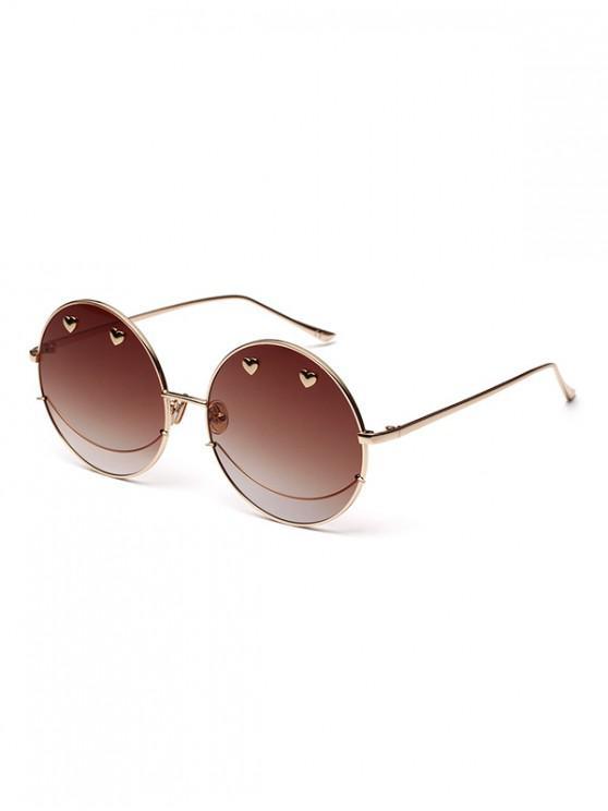 Gafas de sol redondas Ombre de metal de Small Heart - Café