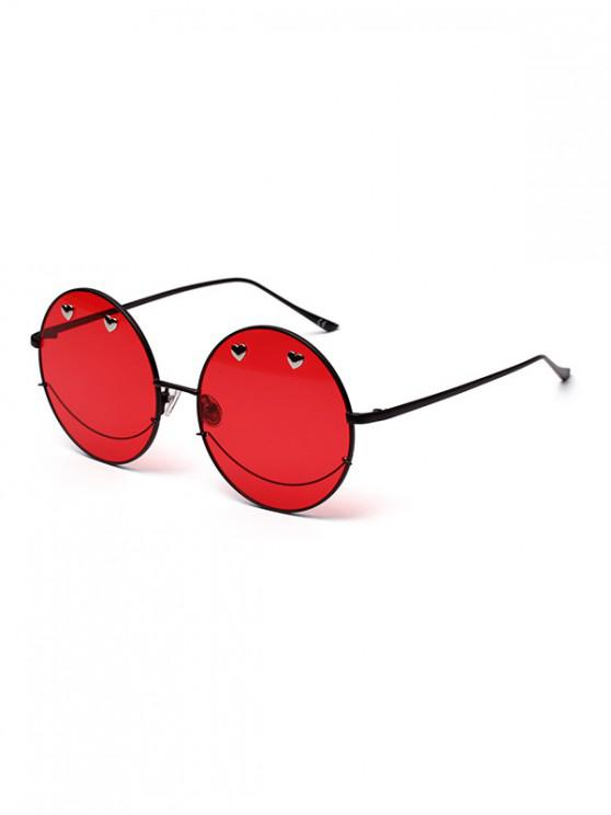 shops Small Heart Metal Ombre Round Sunglasses - LAVA RED