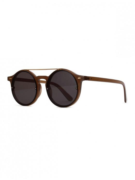 Gafas de sol redondas al aire libre bar vintage - Marrón Oscuro