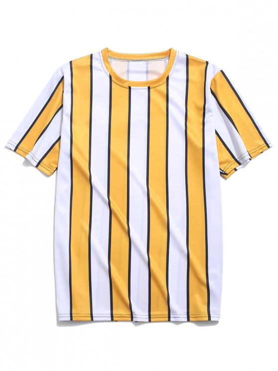 ladies Color Block Striped Print T-shirt - YELLOW 3XL