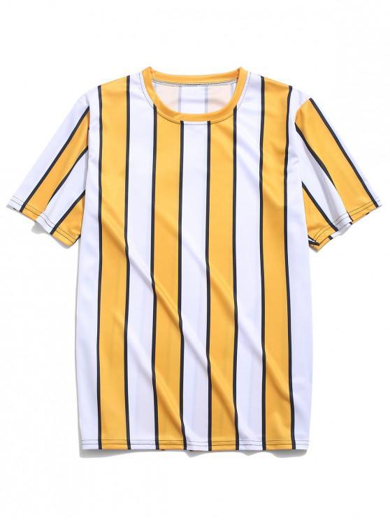 T-Shirt à Imprimé Rayures en Blocs de Couleurs - Jaune 4XL