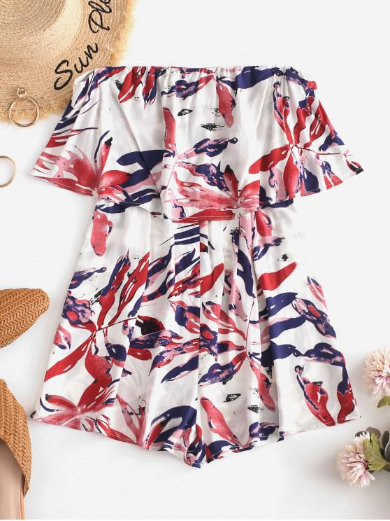 outfits ZAFUL Leaves Print Overlay Strapless Romper - MULTI M