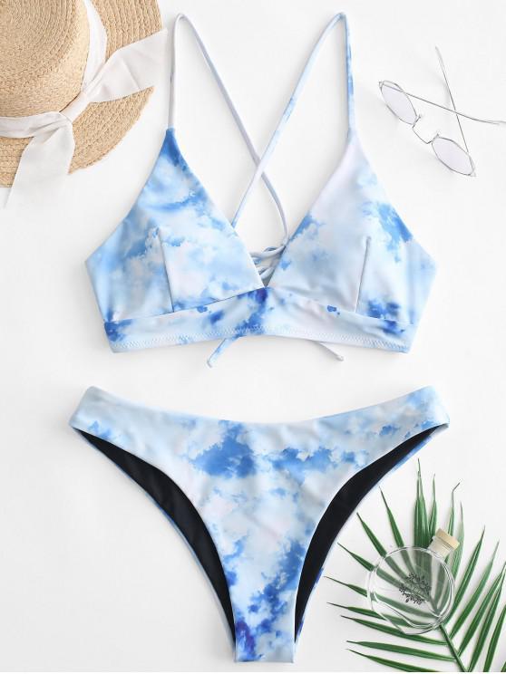 fancy ZAFUL Clouds and Sky Print Crisscross Reversible Bikini Swimsuit - WHITE L