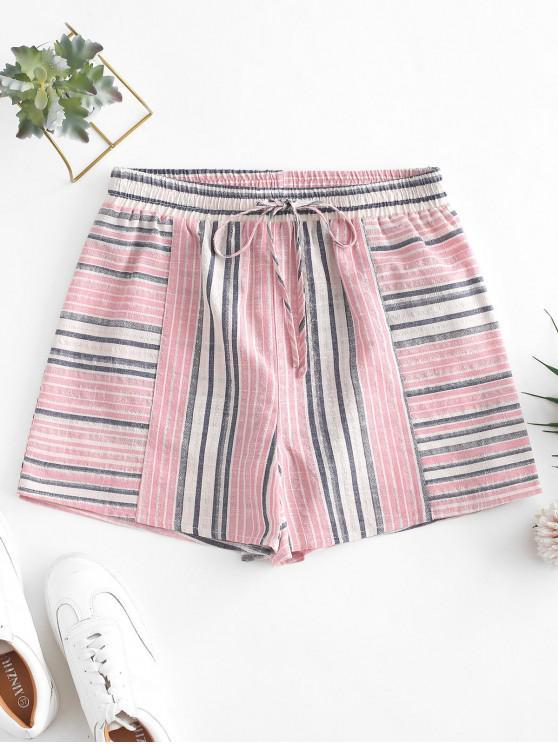 ZAFUL cordón de la cintura a rayas pantalones cortos - Cerdo Rosa S