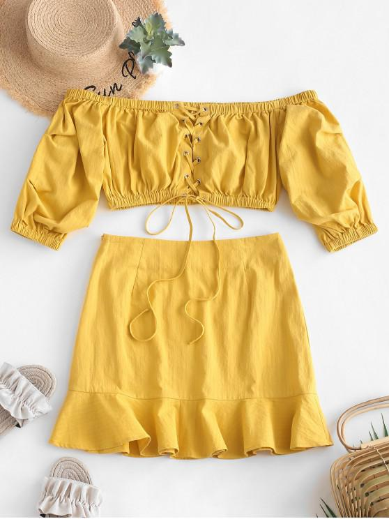 outfit ZAFUL Lace Up Crop Top And Ruffle Skirt Set - MUSTARD M