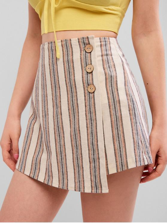 new ZAFUL Striped Button Front Overlap Shorts - MULTI S