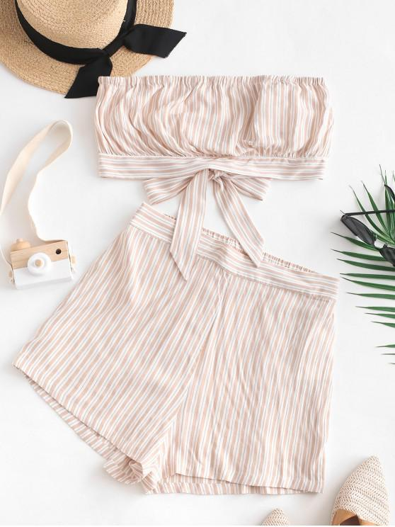 new ZAFUL Striped Strapless Tie Back Wide Leg Shorts Set - APRICOT S