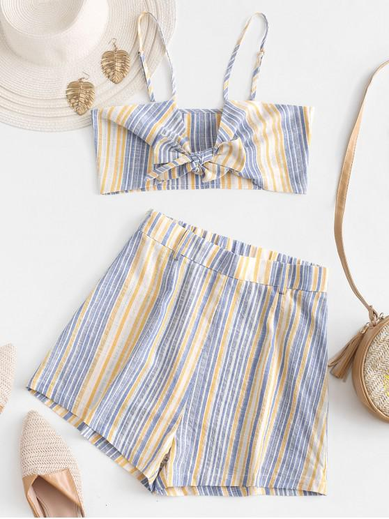 women's ZAFUL Striped Tie Front Wide Leg Shorts Set - SUN YELLOW M