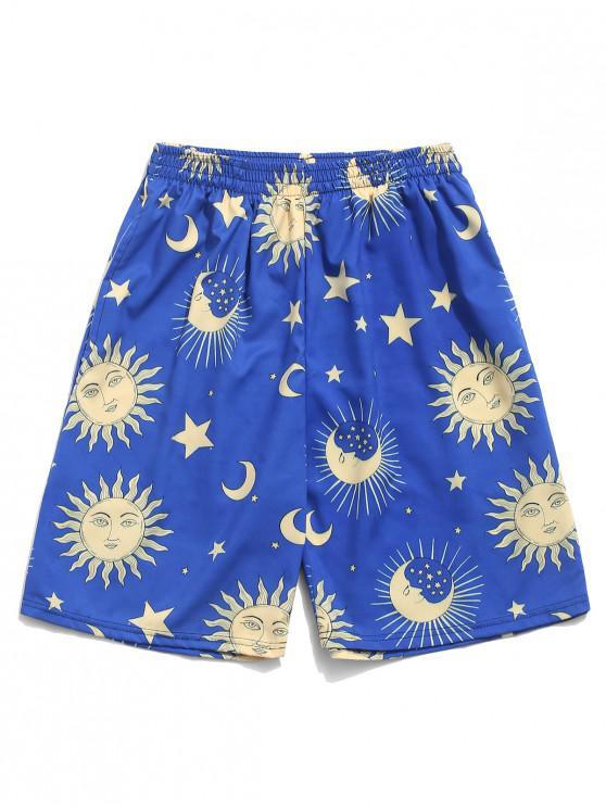 Pantalones cortos de Sun Moon and Star Print Board de dibujos animados - Azul Océano  M