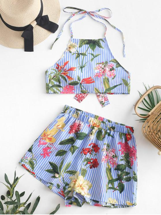 buy ZAFUL Flower Striped Halter Crop Top and Shorts Set - POWDER BLUE M