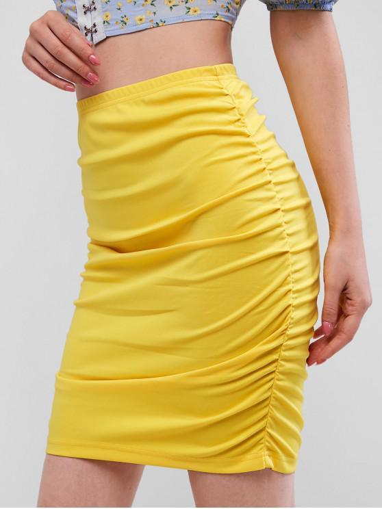 Falda vaina de color liso con pliegues fruncidos - Amarillo M