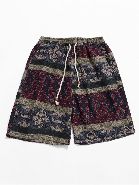 new Ethnic Tribal Floral Print Shorts - MULTI L