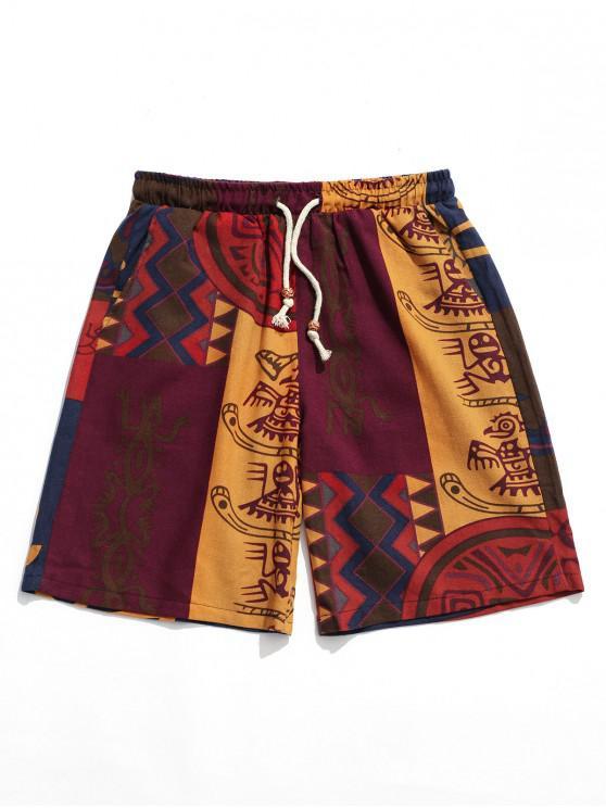 Pantalones cortos de tablero de lazo con estampado tribal - Multicolor XL