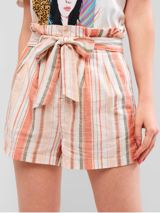 ZAFUL Multi Striped Paperbag Shorts - Multicolor M