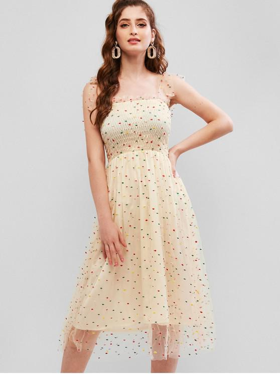 best Dots Embroidered Tied Straps Smocked Gauze Dress - MULTI S