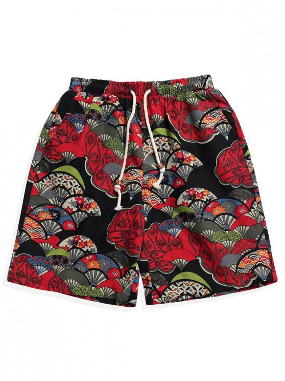 best Floral Fan Ethnic Tribal Print Shorts - MULTI XS
