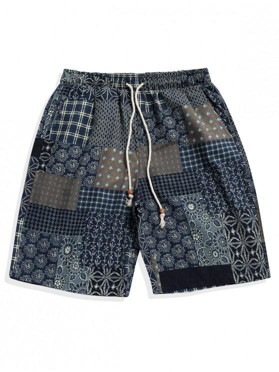 trendy Ethnic Tribal Plaid Floral Geometric Print Casual Shorts - MULTI XL