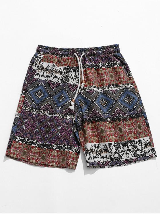 chic Ethnic Tribal Geometric Print Shorts - MULTI S