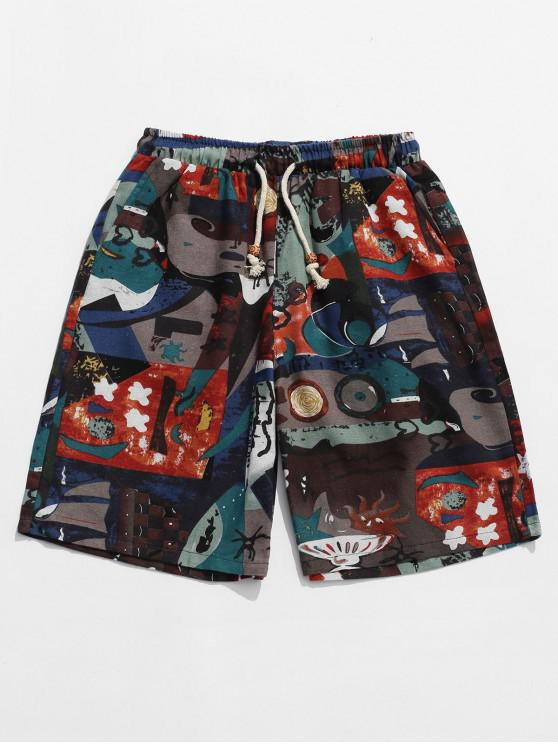 Tribal Floral Animal pintura estampado gráfico Shorts - Multicolor M