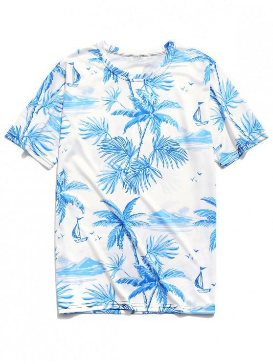 sale Beach Scenery Palm Print Hawaii T-shirt - WHITE XL