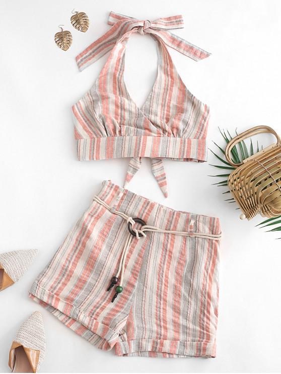 Conjunto de pantalones cortos a rayas con cuello halter ZAFUL - Naranja Baloncesto S