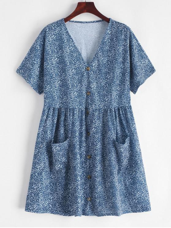 ladies V Neck Buttons Printed Flare Dress - MULTI L