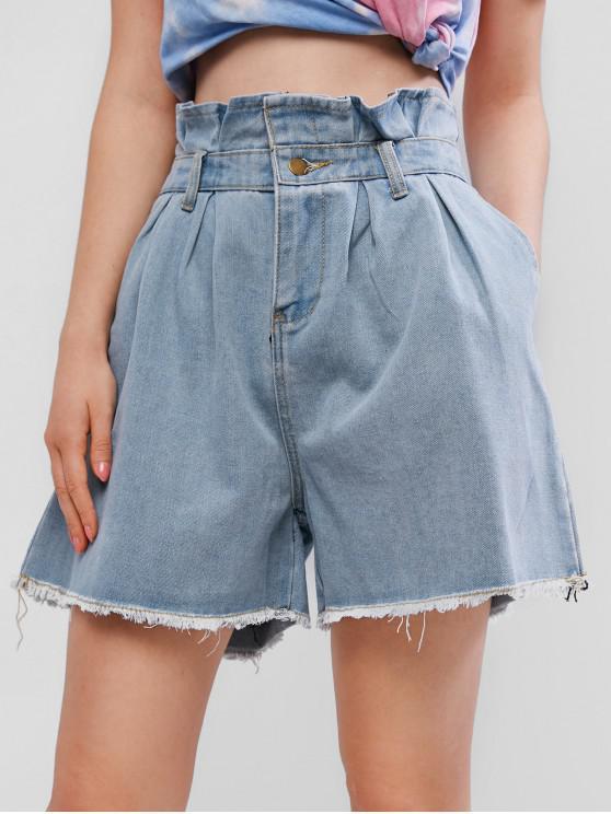 fancy Frayed Denim Cutoffs Paperbag Shorts - DENIM BLUE M