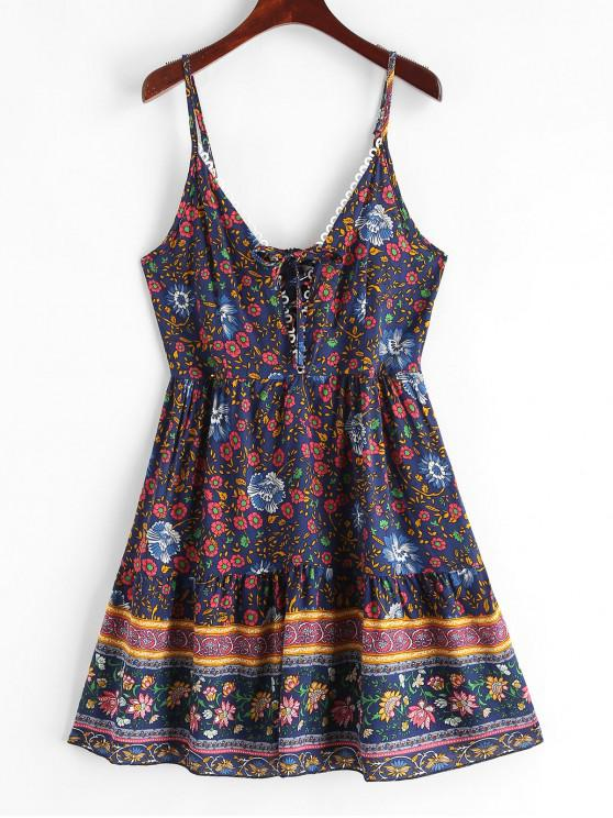 unique Floral Print Lace Up Flared Cami Dress - CADETBLUE M