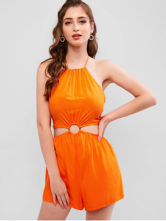 chic ZAFUL Neon O-ring Cut Out Backless Romper - MANGO ORANGE M