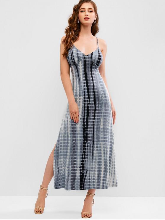 ZAFUL Tie Dye vestido sin espalda de alta rendija - Gris Azulado L