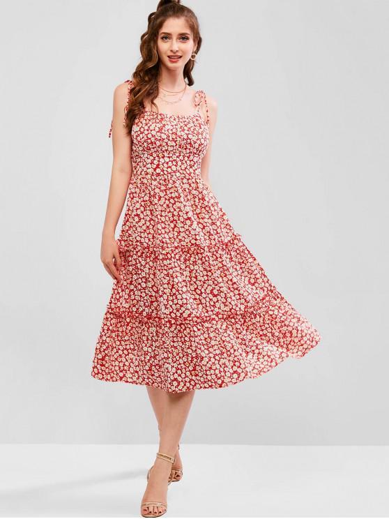best ZAFUL Ditsy Floral Tie Shoulder A Line Cami Dress - CHESTNUT RED L