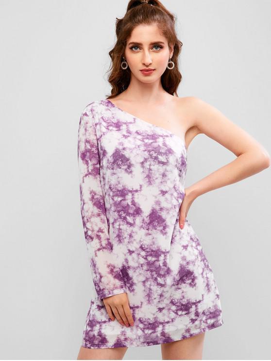 fancy ZAFUL Tie Dye Chiffon One Shoulder Short Dress - LILAC M