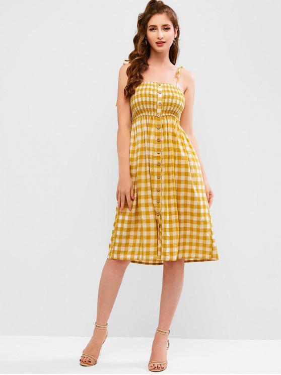 Vestido estilo camisola con botones a cuadros de ZAFUL - Amarillo de Sol  L
