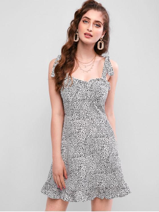 ZAFUL Mini vestido estampado de vaca con hombros descubiertos - Blanco S