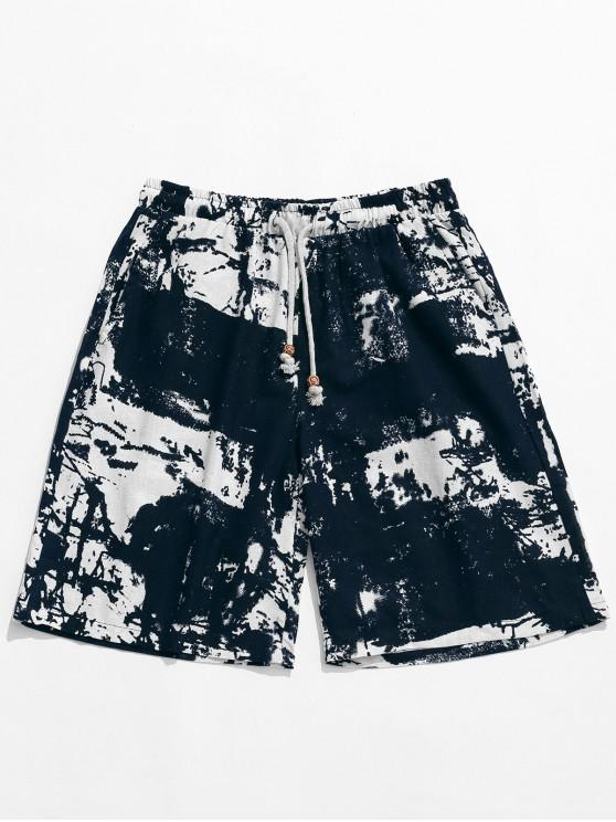 hot Allover Tie Dye Print Drawstring Board Shorts - MULTI XS