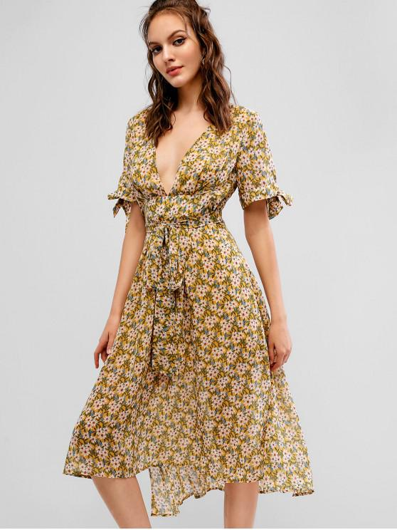 womens ZAFUL Floral Plunging High Low Belted Dress - YELLOW S
