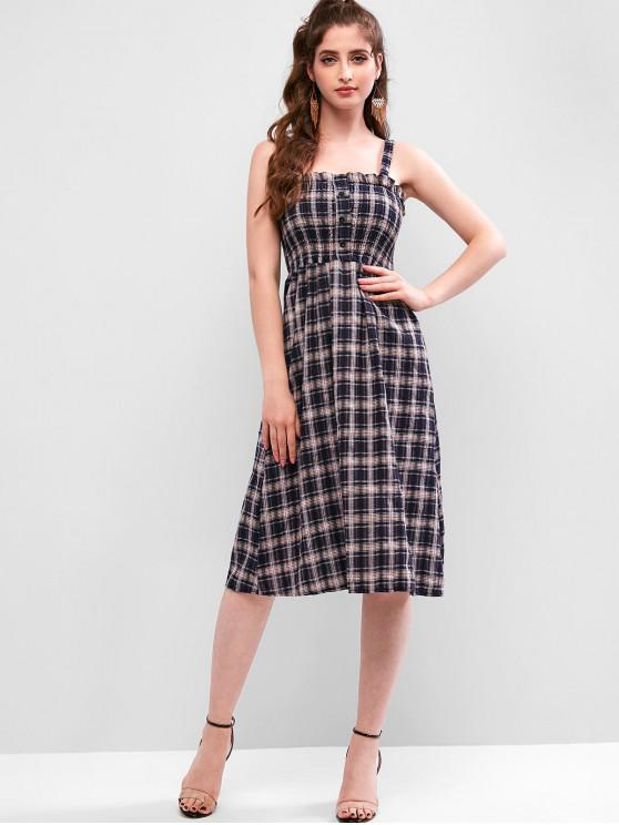 lady Plaid Smocked Buttoned Sleeveless Dress - MULTI ONE SIZE