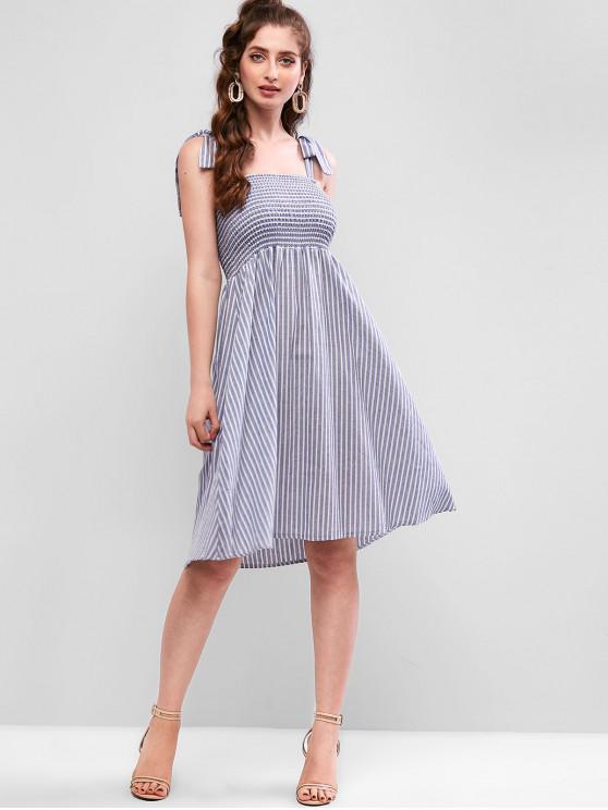 trendy Tied Straps Smocked Stripes A Line Dress - BABY BLUE ONE SIZE