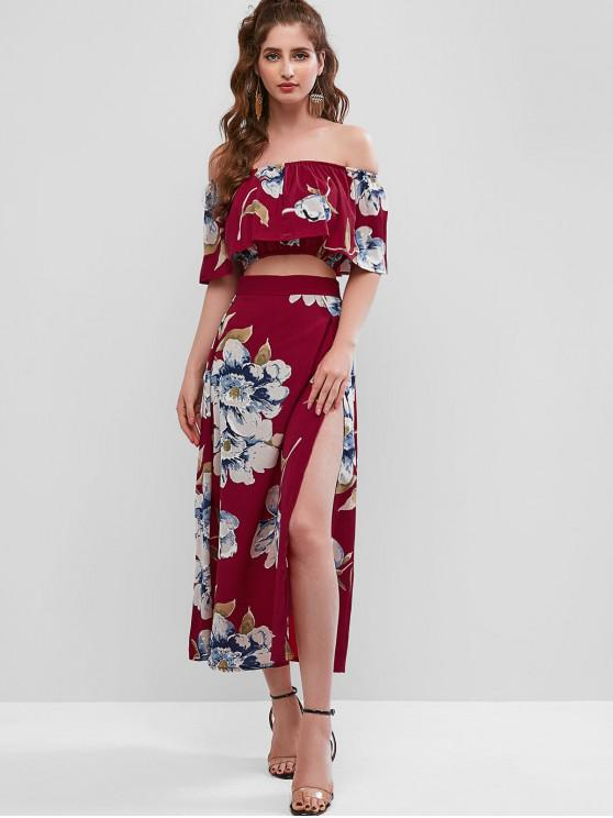 chic Floral Print Cropped Top and Maxi Skirt Set - RED WINE L