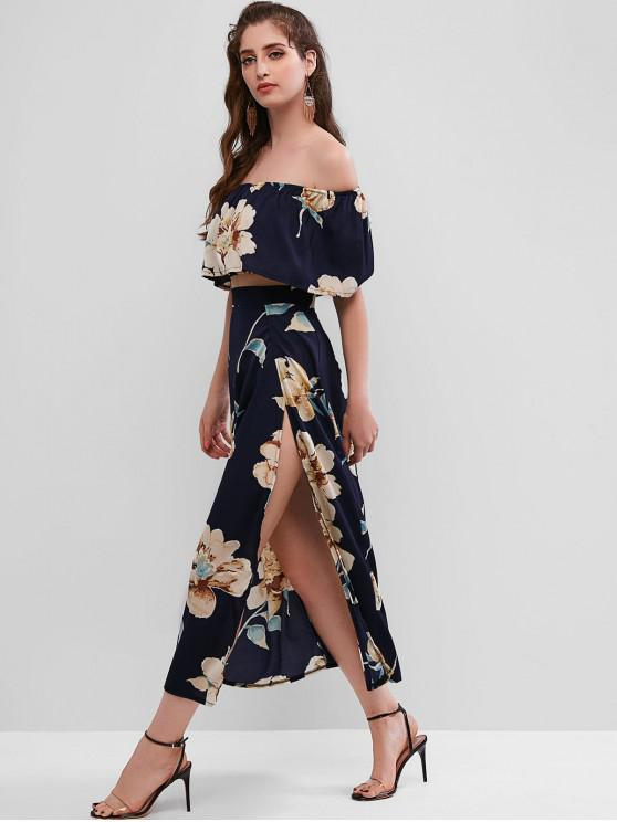 unique Floral Print Cropped Top and Maxi Skirt Set - DEEP BLUE M
