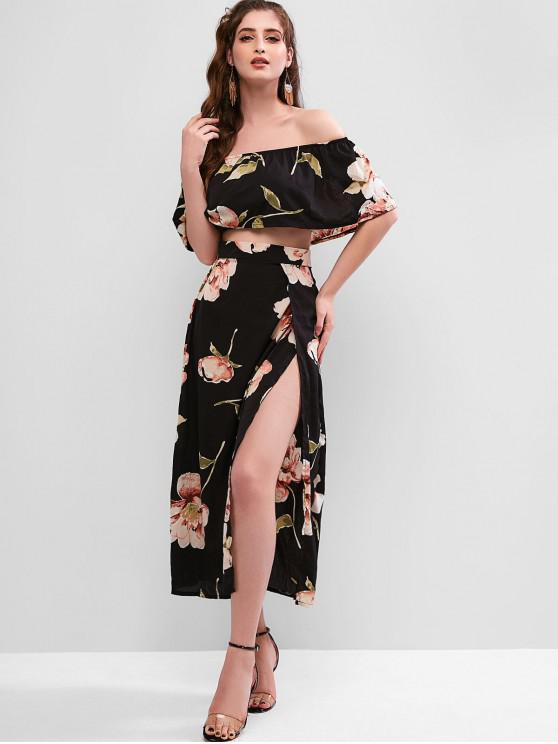 aabe9347373 35% OFF] [HOT] 2019 Floral Print Cropped Top And Maxi Skirt Set In ...