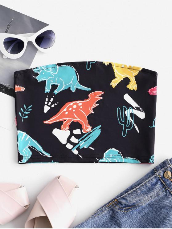 fancy Cute Dinosaur Print Bandeau Top - BLACK S