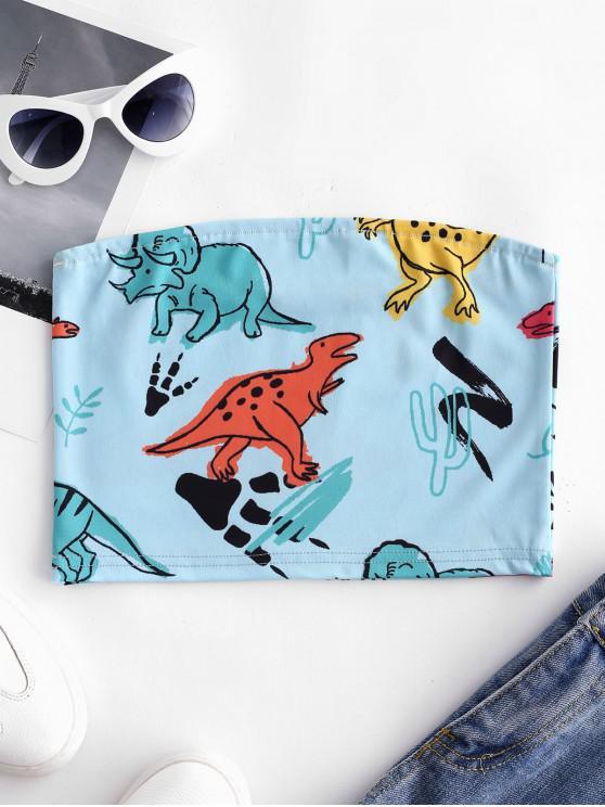 trendy Cute Dinosaur Print Bandeau Top - BLUE KOI M