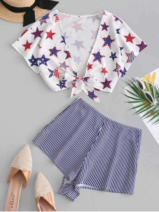shop American Flag Print Knotted Loose Shorts Set - MULTI M