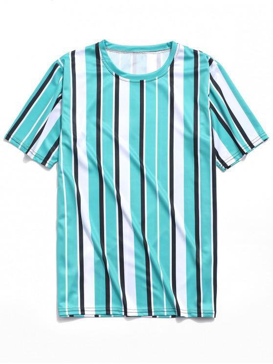 Camiseta a Rayas Verticales con Estampado de Rayas - Azul Verde Guacamayo  M