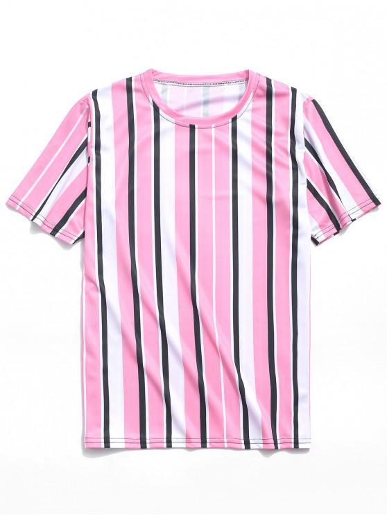 new Short Sleeves Vertical Stripes Print Casual T-shirt - PINK XL