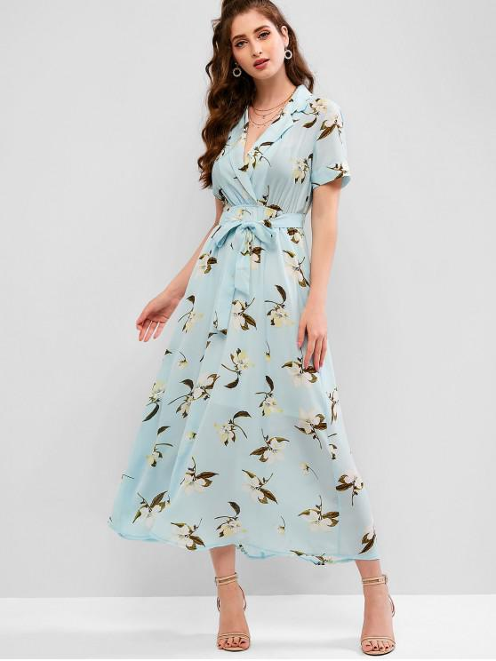 outfits ZAFUL Flower Print Lapel Ankle Length Belted Dress - MULTI M