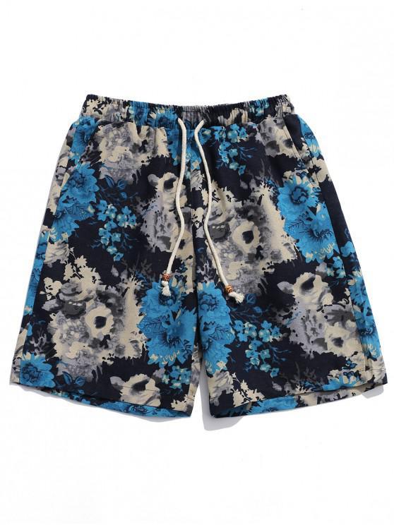 Pantaloncini tribali con stampa floreale a inchiostro - Multi Colori XL
