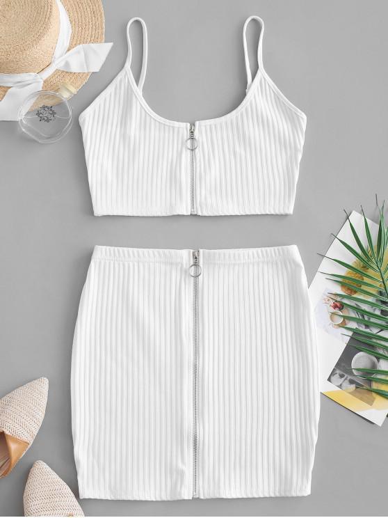 women's Zip Up Crop Top and Sheath Skirt Set - WHITE L