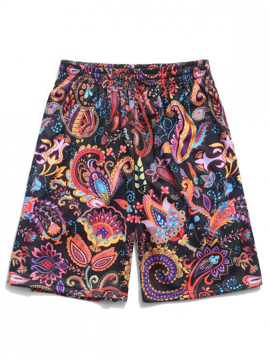 Pantalones cortos de playa bohemio con estampado de plantas con flores de Paisley - Multicolor-A 4XL